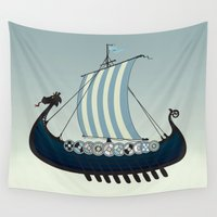 viking Wall Tapestries featuring Blue viking ship by mangulica