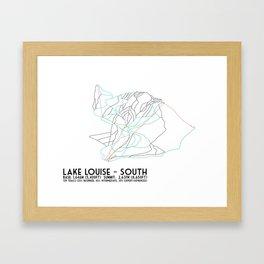 Lake Louise, Alberta, Canada - South Face - Minimalist Trail Map Framed Art Print