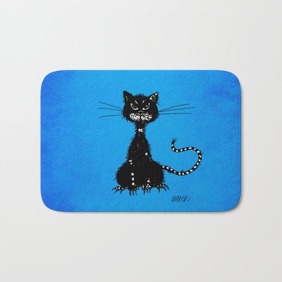 Ragged Evil Black Cat (blue) Bath Mat