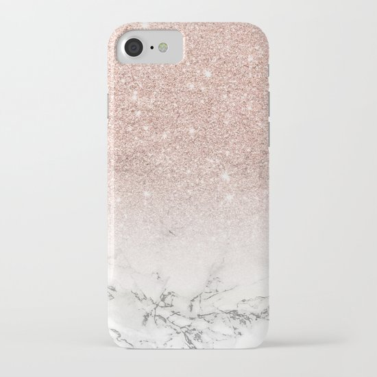 Modern faux rose gold pink glitter ombre white marble by girlytrend