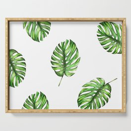 Monstera green leaves Serving Tray