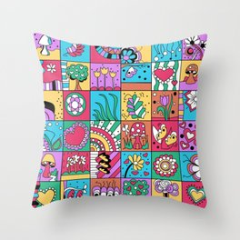 Inchie Doodle Design - Blue Red - Spring Throw Pillow