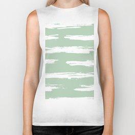 Swipe Stripe White on Pastel Cactus Green Biker Tank