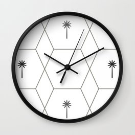 Hexagon Palms - Black and White Wall Clock