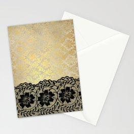 Black floral luxury lace on gold damask pattern Stationery Cards