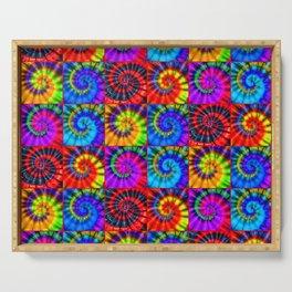 Spiral Tie Dye Checkerboard Serving Tray