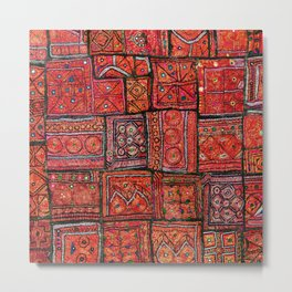 V5 Red Traditional Moroccan Design - A3 Metal Print