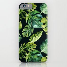 Watercolor Botanical Green Monstera Lush Tropical Palm Leaves Pattern on Solid Black iPhone Case
