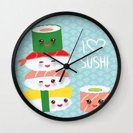 I love sushi. Kawaii funny sushi set with pink cheeks and big eyes, emoji. Blue japanese pattern Wall Clock