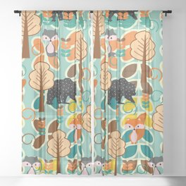 Magical forest with foxes and bears Sheer Curtain