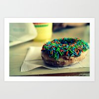doughnut Art Prints featuring Doughnut by lauraflores013
