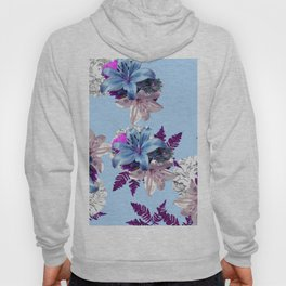 LILY SILVER BLUE AND PURPLE WITH WHITE HYDRANGEAS Hoody