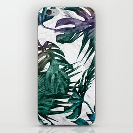 Tropical Palm Leaves on Marble iPhone Skin