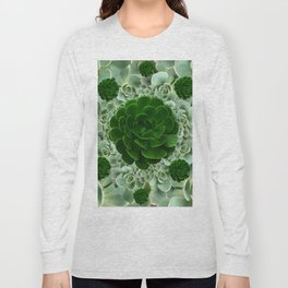 JADE & DARK GREEN SUCCULENT ROSETTES GARDEN Long Sleeve T-shirt