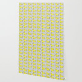 Doxie Love - Grey and Yellow Wallpaper