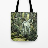 pixies Tote Bags featuring Unicorn & Pixies by Mike Lowe