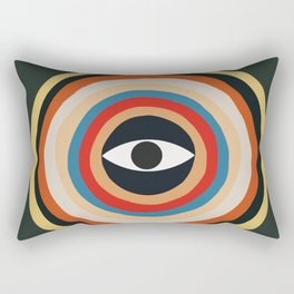 Third Eye Retro Colors Circle Rectangular Pillow