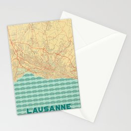 Lausanne Map Retro Stationery Cards