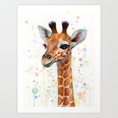 Giraffe Baby Animal Watercolor Whimsical Nursery Animals Art Print