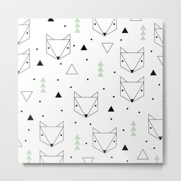 Scandinavian woodland fox forest mint black and Metal Print