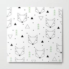 Scandinavian woodland fox forest mint black and Metal Print