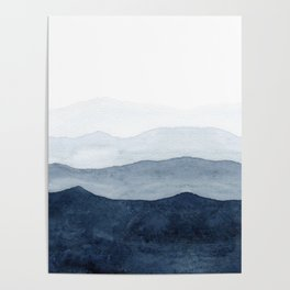 Indigo Abstract Watercolor Mountains Poster