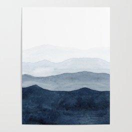 Indigo Abstract Watercolor Mountains Poster