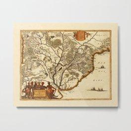 Map Of Paraguay 1671 Metal Print
