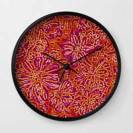 Marigold Lino Cut, Batik Red And Purple Wall Clock