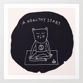 Relax Cat, A Healthy Start, Meditation Art Print