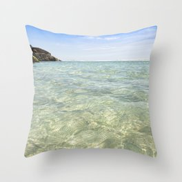 Clear blue, Pedn Vounder Beach, Cornwall Throw Pillow