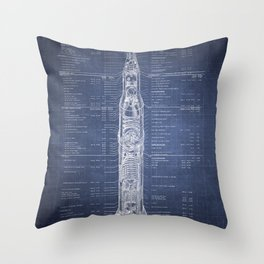 Apollo 11 Saturn V Blueprint in High Resolution (dark blue) Throw Pillow