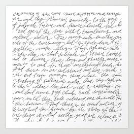 Script Text Book Page Letter Art Print
