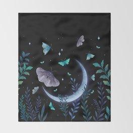 Moth Garden Throw Blanket