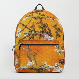 Vincent van Gogh Blossoming Almond Tree (Almond Blossoms) Orange Sky Backpack