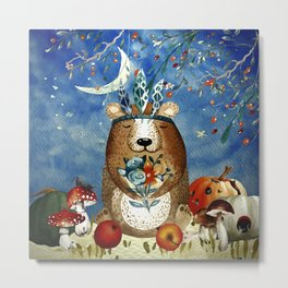 Autumn Woodland Friends Bear Forest Illustration Metal Print