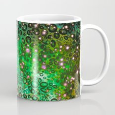 RAINBOW DOTTY OCEAN 3 Green Lime Ombre Space Galaxy Colorful Polka Dot Bubbles Abstract Painting Art Mug