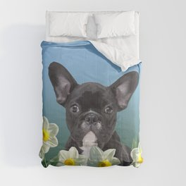 French Bulldog in Daffodils Field Comforters
