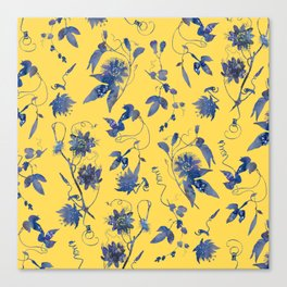 Elegant Blue Passion Flower on Mustard Yellow Canvas Print