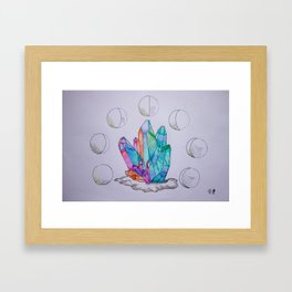 Moon Phases Crystals 1 Framed Art Print