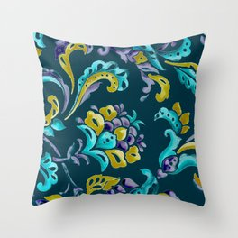 Scroll - Hand Painted Teal Ground Throw Pillow