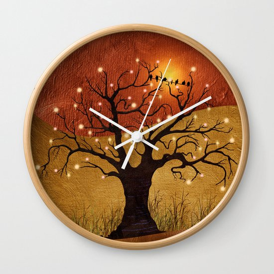 sunset and lights Wall Clock