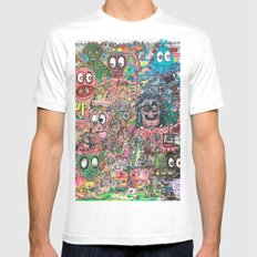 1 UP White MEDIUM Mens Fitted Tee