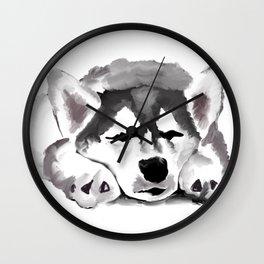 Sleepy Husky Wall Clock