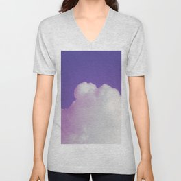 Big Fluffy Cloud Against a Purple Sky, Beautiful Cloud and Beautiful Sky Unisex V-Neck