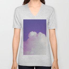 Big Fluffy Cloud Against a Purple Sky, Beautiful Cloud and Beautiful Sky Unisex V-Neck