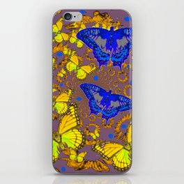 Decorative Blue & Yellow Butterfly Patterns iPhone Skin