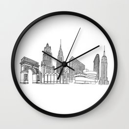 NYC Landmarks by the Downtown Doodler Wall Clock