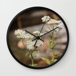 Whimsical White Flowers in Vintage Wall Clock