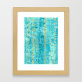 Gold in Deep Turquoise watercolor art Framed Art Print